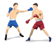 boxers fight. Boxers fight on white background. Caucasian people in uniform with gloves Stock Photography