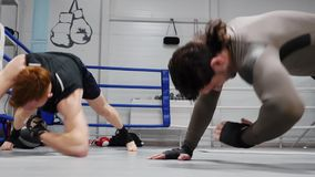 Boxers fighters trainings sport workout indoor gym. Energetic caucasian sportsmen active preparation competition limber-up exercise healthy lifestyle athletic stock footage