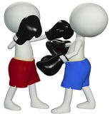 Boxers punch knockout in 3D boxing fight. Two boxers square off in a championship boxing match prize fight Royalty Free Stock Photos