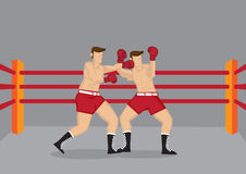 Boxers Punching in Boxing Ring Vector Illustration Stock Photos