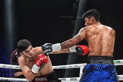 Boxers Ramil Gadzhyiev and Bruno Sandoval fight for World Boxing Council International Silver Super Middleweight Title royalty free stock photography