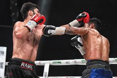 Boxers Ramil Gadzhyiev and Bruno Sandoval fight for World Boxing Council International Silver Super Middleweight Title stock photos