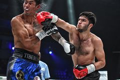 Boxers Ramil Gadzhyiev and Bruno Sandoval fight for World Boxing Council International Silver Super Middleweight Title stock photo
