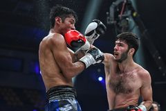 Boxers Ramil Gadzhyiev and Bruno Sandoval fight for World Boxing Council International Silver Super Middleweight Title stock photography
