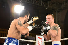 Boxers in the ring during fight for ranking points. Kyiv, Ukraine - December 24, 2016: An unidentified boxers in the ring during fight for ranking points in the Royalty Free Stock Photography