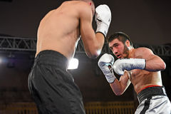 Boxers in the ring during fight for ranking points. Kyiv, Ukraine - December 24, 2016: An unidentified boxers in the ring during fight for ranking points in the Stock Image