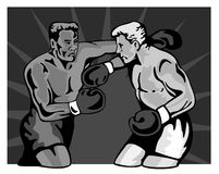 Boxers slugging it out. Vector art of two Boxers slugging it out Royalty Free Stock Photos