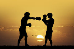 Boxers at sunset. Illustration of two Boxers at sunset Stock Photo