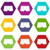 Boxers underpants icons set 9 vector. Boxers underpants icons 9 set coloful isolated on white for web Stock Image