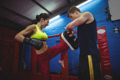 Boxers using focus mitts during training. In fitness studio royalty free stock images