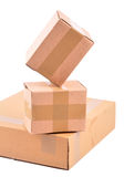 Boxes. Stacked close boxes on white background with clipping path Royalty Free Stock Photo