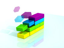Boxes. 3d boxes according by color royalty free illustration