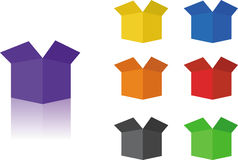 Boxes. Colored in the perspective open Royalty Free Stock Photo