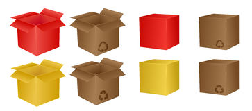 Boxes. Set of different boxes, isolated Stock Photo