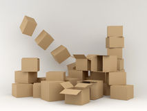 Boxes. Illustration: empty boxes in cardboard Stock Images