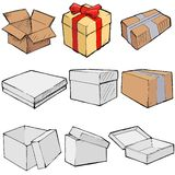 Boxes. Set of , sketch illustration of boxes Stock Images