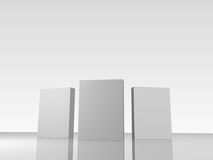Boxes. 3D-rendered illustration of three blank boxes on a reflective surface against a white gradient background. Perfect for product packaging such as software Royalty Free Stock Photos