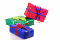 Boxes. Some colored gift boxes on white background Royalty Free Stock Photo