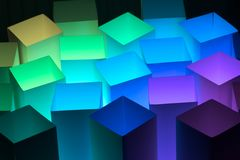 Boxes 7. Colored boxes on a black background stock illustration