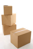 Boxes. Stack of brown cardboard boxes Stock Images