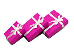 Boxes. Three souvenir boxes white background isolate Royalty Free Stock Photography