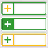 Boxes for any text with plus sign. Set of three boxes for any text with plus sign royalty free illustration
