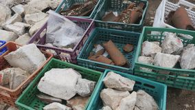 Boxes with archaeological finds in Sagalassos, Turkey. Archaeological excavation, Boxes with archaeological finds in Sagalassos, an importrant city of ancient stock footage