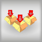 Boxes with arrows. Gift box icon vector illustrations royalty free stock images