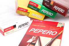 Boxes of assorted Pepero sticks - Series 9 Royalty Free Stock Photo