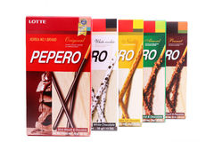 Boxes of assorted Pepero sticks - Series 15 Stock Photo