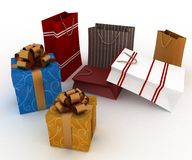 Boxes and bags for gifts Stock Photos