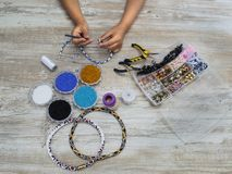 Boxes with beads, accessories for needlework. Royalty Free Stock Photography