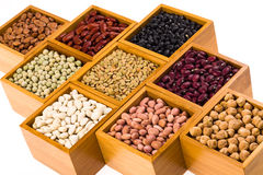 Boxes of beans Royalty Free Stock Images