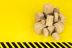 Boxes on a black and yellow background Stock Photos