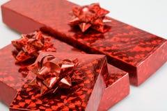 boxes blanka röda band Royaltyfri Fotografi