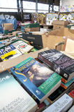 Boxes of books, waiting to be sorted at the Bookcycle UK warehouse royalty free stock image