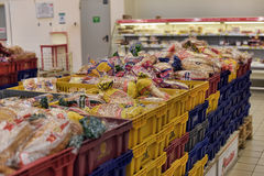 Boxes with bread and buns in the supermarket Royalty Free Stock Image