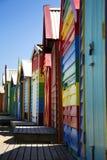 Boxes in Brighton, Australia. BRIGHTON-AUSTRALIA October 28, 2016: Colourful boxes in a row at Brighton beach in Victoria, Australia Royalty Free Stock Photos