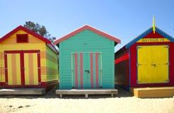 Boxes in Brighton, Australia. BRIGHTON-AUSTRALIA October 28, 2016: Colourful boxes in a row at Brighton beach in Victoria, Australia Royalty Free Stock Image