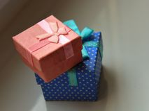 Boxes with a butterfly, polka dot gift warm stock photos