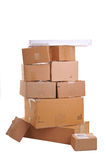 Boxes carelessly stacked on top of each other Royalty Free Stock Photos