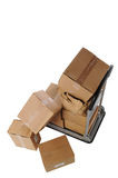 Boxes on cart Royalty Free Stock Image
