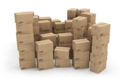 Boxes carton packages transport. 3D illustration Royalty Free Stock Photo