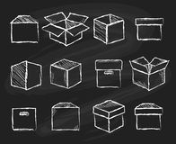 Boxes on chalk board. Closed and open packaging boxes sketch for delivery concepts vector illustration stock illustration