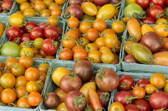 Boxes of cherry tomatoes at the market faded Royalty Free Stock Photos