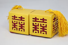 Boxes with Chinese Marriage Happiness Symbol Stock Photography