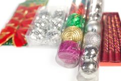 Boxes with Christmas ornaments Royalty Free Stock Photo