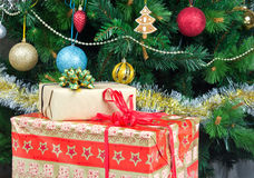 Boxes with chrostmas gifts Stock Images