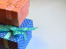 Boxes close-up gift warm royalty free stock photography