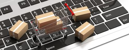 Boxes closed and a shopping cart on computer laptop. 3d illustration royalty free illustration